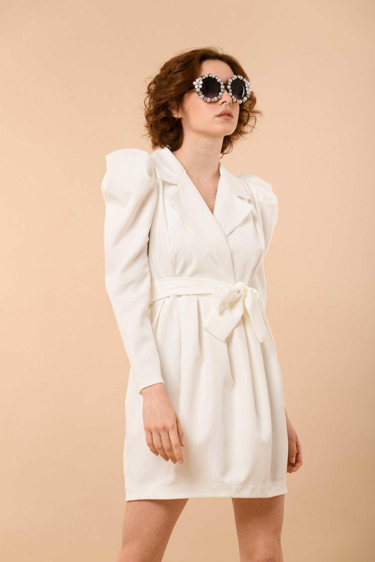 φόρεμα μίντι φουσκωτοί ώμοι