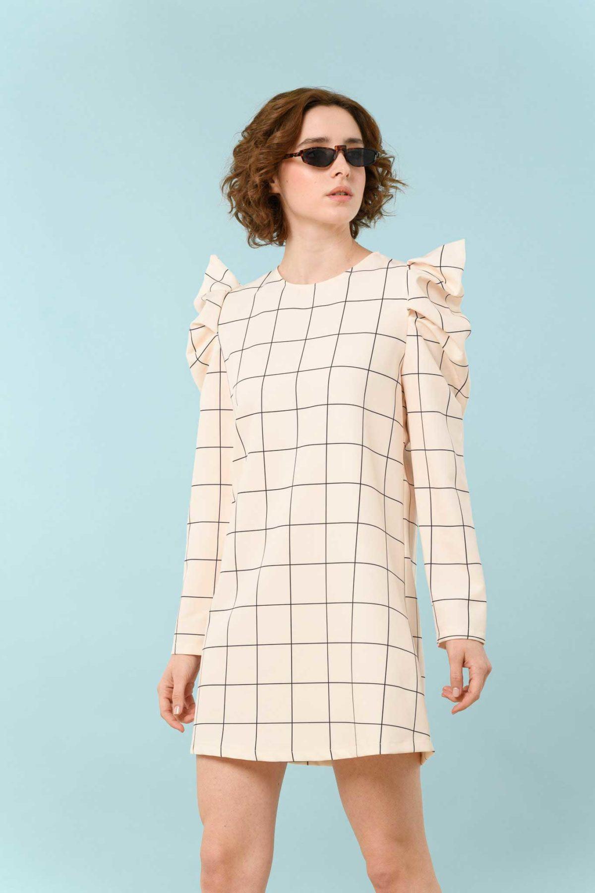 φόρεμα καρό μίντι