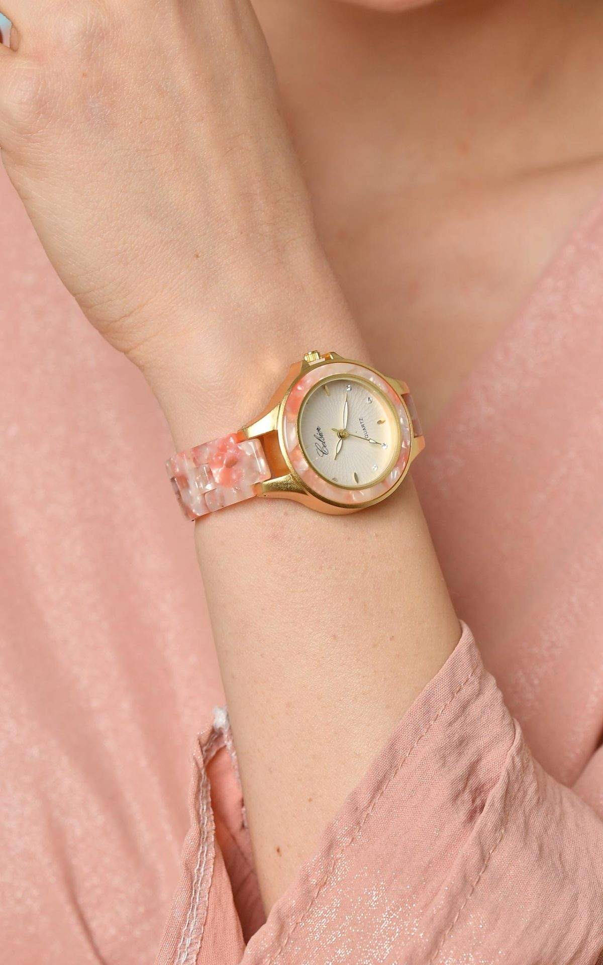 Ρολόι floral pink opal