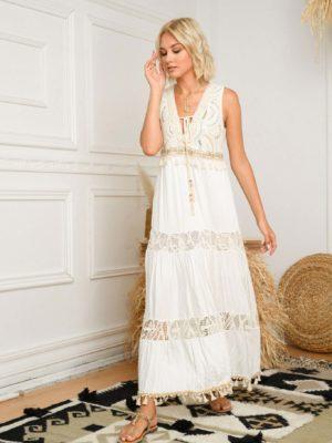 φόρεμα maxi boho white
