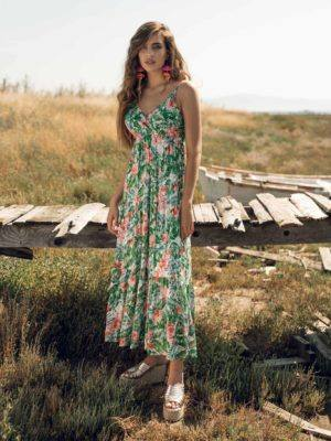 Φόρεμα maxi floral χρυσές λεπτομέρειες