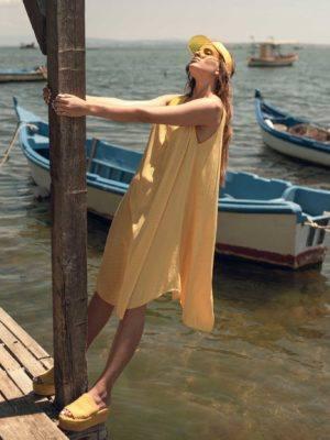 Φόρεμα oversize μίντι ριγέ