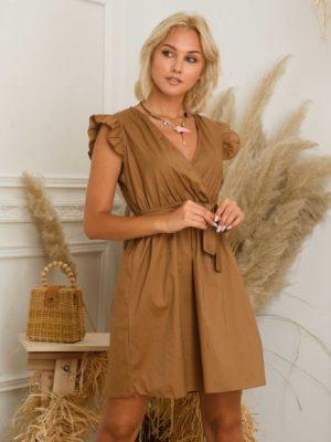 Φόρεμα μίντι βολάν ώμοι
