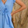 Φόρεμα μίντι κρουαζέ βολάν ώμοι